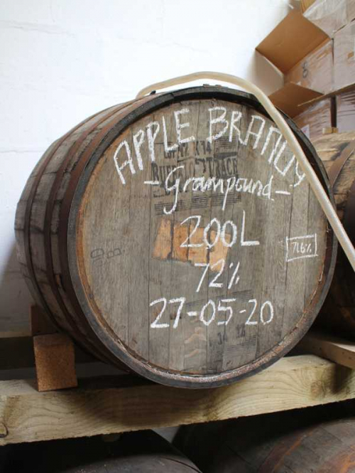 Garmpound Apple Brandy maturing in a Bufflo Trace American Bourbon Barrel